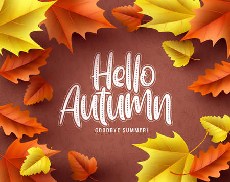 Hello autumn vector background border. Hello autumn greeting text with seasonal orange and red maple leaves in brown pattern background. Vector illustration. Ilustracja