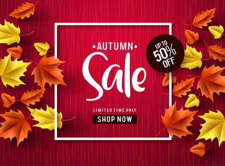 Autumn sale vector banner in red. Autumn sale discount text with colorful maple leaves and white frame in red textured background. Vector illustration. Ilustracja