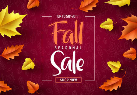 Fall sale seasonal vector banner. Fall season sale text typography with colorful maple leaves in red autumn pattern background. Vector illustration.