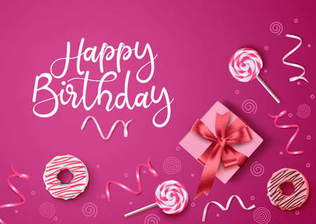 Happy birthday vector background design. Happy birthday text with gift, donuts, candies and confetti in feminine pink background. Vector illustration. Ilustracja