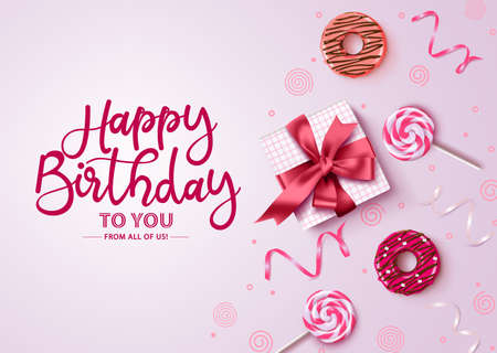 Happy birthday typography with pink background vector design. Happy birthday text with empty space for message with gift, donuts, candies and confetti in feminine concept for greeting card and invitation. Vector illustrator. Ilustracja