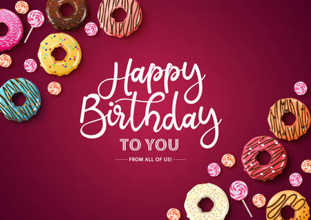 Happy birthday vector typography with donuts. Happy birthday text with empty space for message and colorful elements of donuts and candies in red background for greeting cards and invitation. Vector illustration.