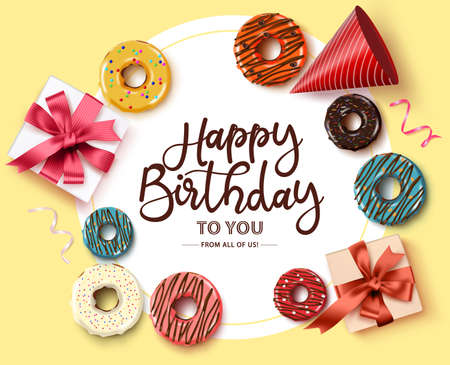 Happy birthday greeting card vector template. Happy birthday text in circle frame with white space for message and colorful party elements like donuts, gifts, hat, and confetti in yellow background. Vector illustration. Ilustracja