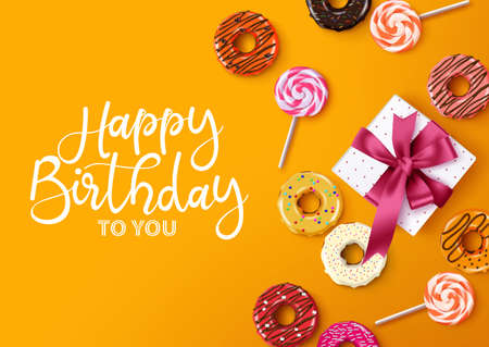Happy birthday vector background greeting card design. Happy birthday typography with empty space for text and message and colorful donuts, candies and gift  in elegant concept. Vector illustration. Ilustracja