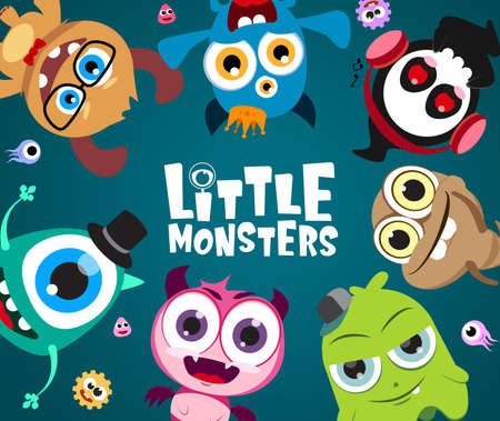 Little monsters vector characters background design. Cute little monster character with text in empty space for message in blue background. Vector Illustration. Ilustracja