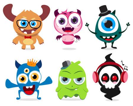 De mignons petits monstres définissent des caractères vectoriels. Créatures monstres mignonnes avec des visages drôles et fous isolés sur fond blanc. Illustration vectorielle.