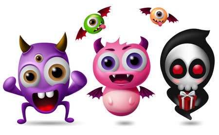 Monster vector characters set. Cute little monsters in funny and scary expression isolated in white background. 3D realistic vector illustration.