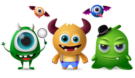 Cute monsters vector character set. Little cute monsters with scary and crazy faces for design elements  isolated in white background. Vector illustration. Ilustracja