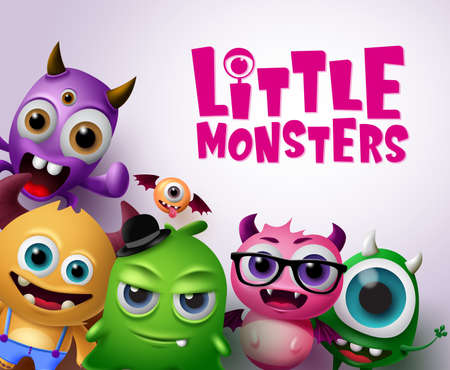 Little monsters vector characters background. Little monsters text with scary and funny monster creatures in white background. Vector illustration. Ilustracja