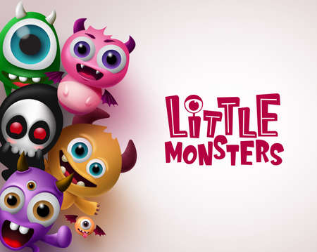 Little monster with 3d realistic character vector background template. Little monsters text with empty space for message in white background. Vector illustration. 向量圖像