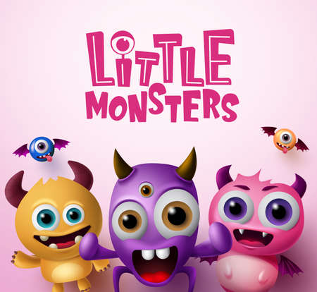 Little monster characters 3d realistic concept vector background design.  Little monsters text with empty space for messages in pink background. Vector Illustration.
