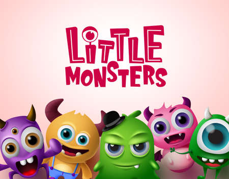 Cute little monsters 3d realistic characters vector background template. Little monsters text with empty space for messages in red background. Vector Illustration.