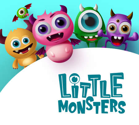 Cute little monster characters vector background template. Little monsters text in empty white space for messages with crazy and scary monster creature in blue background. 3d realistic vector illustration.