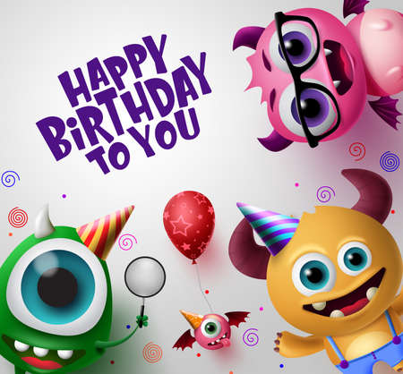 Happy birthday greeting card with cute little monsters creature vector background design. Happy birthday text with empty space for message in white back ground. 3d Realistic  Vector Illustration. Ilustracja