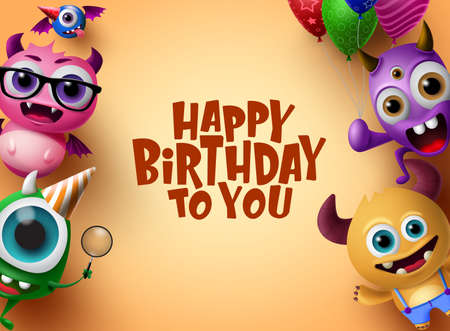 Happy birthday vector background design. Cute little monsters character with colorful party elements like balloons and hat in orange background with happy birthday text in empty space for message. 3d Realistic Vector Illustration.
