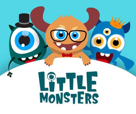 Little monsters vector background template. Little monsters text in empty white space for message and cute funny characters in background. Vector Illustration. Ilustracja