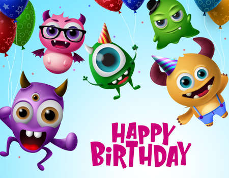 Happy birthday with monster characters vector design. Happy birthday text in flying little monsters creature with colorful balloons and wearing party hats in blue background. Vector Illustration.