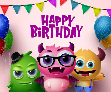 Happy birthday vector concept design. Cute little monsters creature characters and happy birthday text with colorful party elements like balloons and pennants in pink background. 3d Realistic Vector illustration.