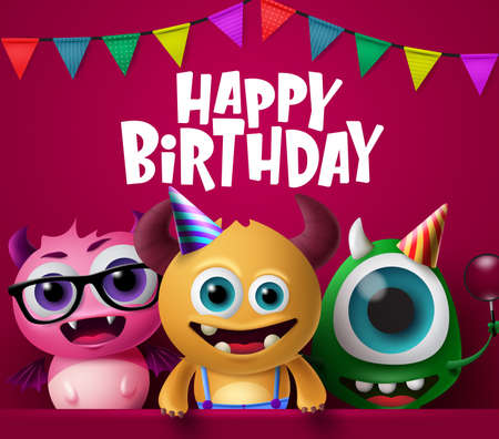 Happy birthday greeting card and monster characters vector design. Crazy cute little monsters characters wearing party hats in happy birthday text with colorful pennants in red background. 3d Realistic Vector Illustration.
