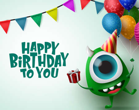 Happy birthday greeting card with monster character vector background template. Happy birthday text in empty space for messages with scary monster and party elements like balloons, hat, gift and pennants in green background. Vector Illustration.