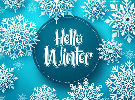 Hello winter vector greeting banner template. Snowflakes with hello winter text and space for message in blue background design. Vector Illustration. Ilustracja