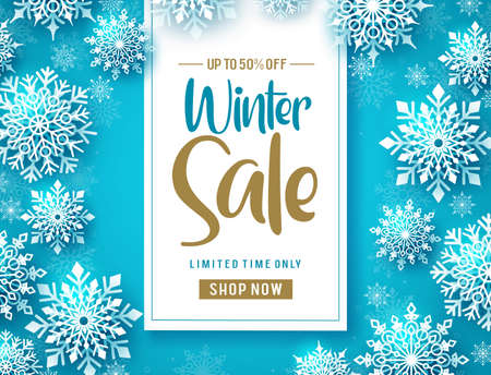 Winter sale vector banner design. Winter sale promo text with cold white snowflakes in blue background design. Vector Illustration. Ilustracja
