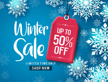 Winter sale vector banner design. Winter sale discount text with white snowflakes and red tag element in blue background.  Vector Illustration.