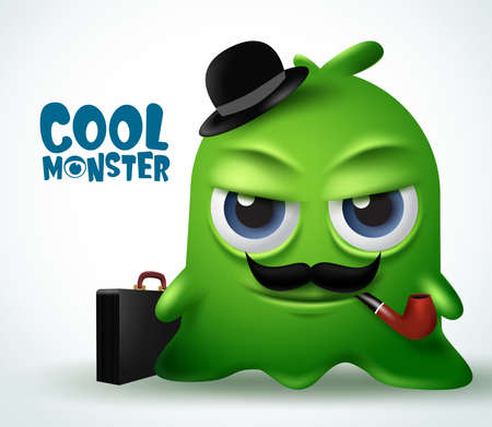 Cool monster mafia boss character vector design. Cool monster boss slime character creature with beard, tobacco pipe, spy hat, and briefcase. 3d realistic vector illustration.