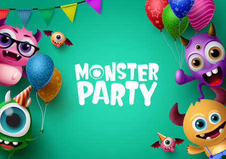 Monster party background template with vector characters. Monster party text in empty space for message and crazy monster character creatures with party elements like colorful balloons. Vector Illustration.
