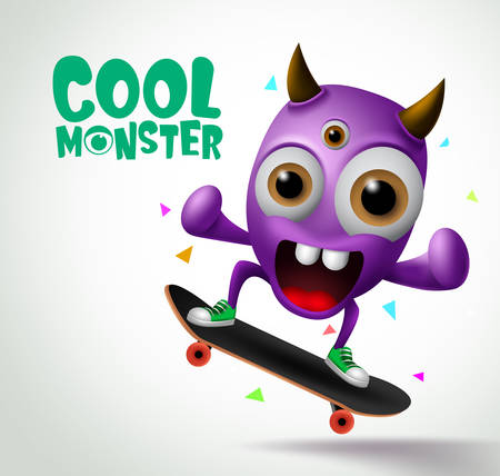 Cool monster skater character vector design. Skater cool monster character creature playing skateboard with funny face in white background. Vector Illustration. 向量圖像