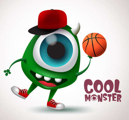 Cool monster basketball character vector design. Basketball player monster creature with funny pose holding ball in white background. 3d Realistic vector Illustration.