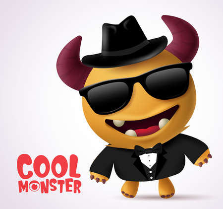 Diseño de personajes de vectores de escolta monstruo fresco. Criatura de personaje de monstruo fresco con pose divertida con abrigo negro, corbata, gafas y sombrero en fondo blanco. Ilustración de vector.