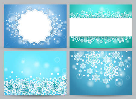 Winter backgrounds and banners vector set with snow flakes and empty white space for text and greetings in blue. Vector illustration 向量圖像