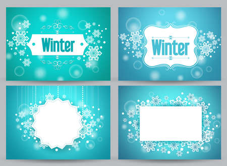 Winter banners and backgrounds vector bundle with designs of snowflakes and space for text in blue. Vector illustration. 向量圖像