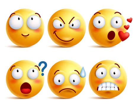 Buźki wektor zestaw. Żółta buźka lub emotikony z wyrazem twarzy i emocjami, takimi jak szczęśliwi, zakochani i zdezorientowani na białym tle. Ilustracja wektorowa.