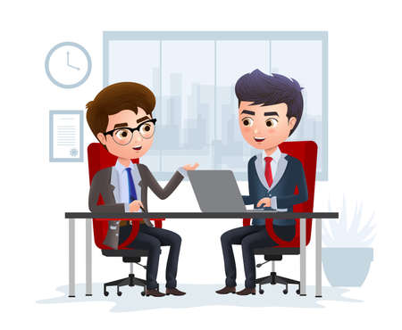 Business character job interview vector concept. Business character manager job interview on applicant for office employment vacancy position. Vector Illustration. 向量圖像