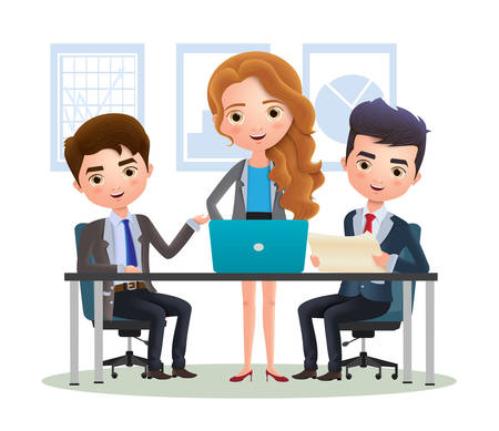 Business characters team of employees vector concept. Business character manager and office team employee meeting. Vector illustration. 向量圖像