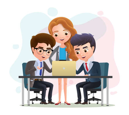 Business characters teamwork employees vector concept. Business character manager and employee meeting discussion in the office. Vector illustration. 向量圖像