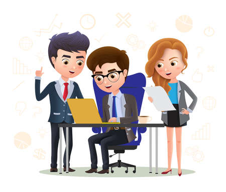 Business character employee office idea vector concept. Business character employee brainstorming ideas for business project. Vector illustration 向量圖像