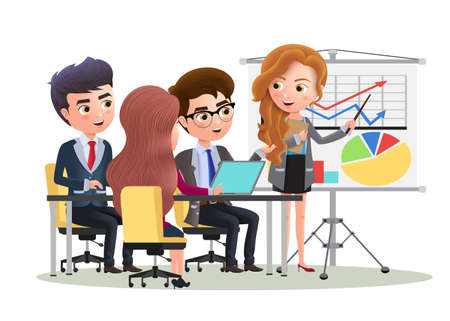 Business character office presentation vector concept. Business character sales manager presentation meeting with employee in whiteboard. Vector illustration.