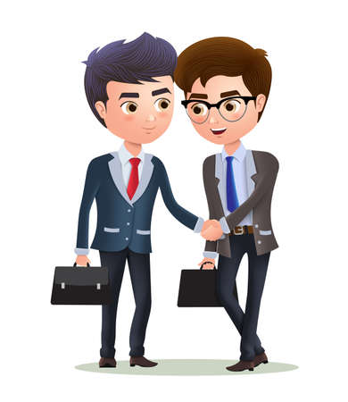 Businessman vector character deal agreement. Two business partners character deal with agreement shaking hands. Vector illustration.