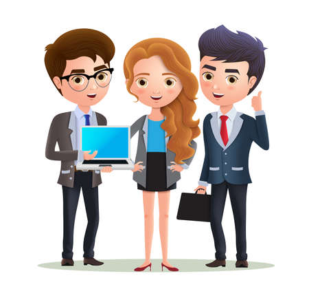 Business team vector characters. Business characters office employee team standing on marketing presentation. Vector illustration.