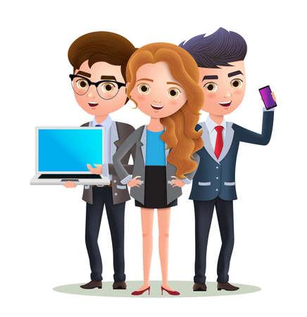 Squadra di personaggi aziendali di dipendenti professionisti. Squadra di presentazione di personaggi aziendali professionali con lavoro di squadra. Illustrazione vettoriale. Vettoriali
