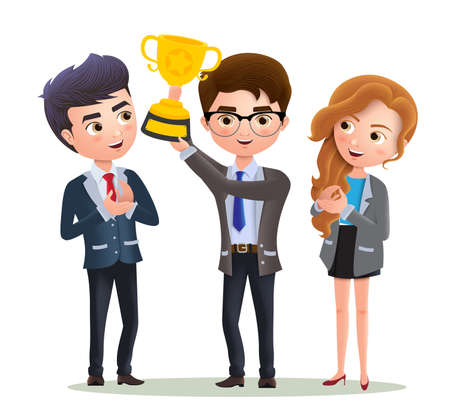 Business vector characters employee promotion. Male business character holding golden cup trophy for office work achievement and success. Vector illustration. 向量圖像