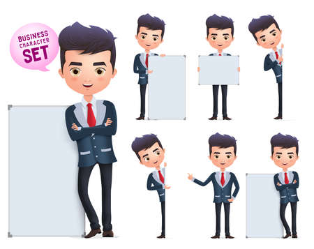 Business man vector characters set. Male business character standing and holding blank whiteboard for presentation isolated in white background. Vector illustration. Ilustração Vetorial