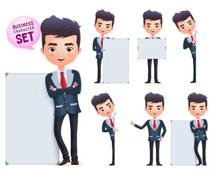Set di caratteri vettoriali uomo d'affari. Personaggio aziendale maschile in piedi e in possesso di lavagna vuota per la presentazione isolata in uno sfondo bianco. Illustrazione vettoriale. Vettoriali