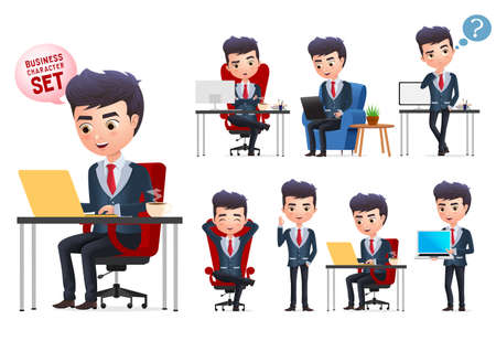 Business man vector characters set. Business professional office young manager character sitting  and doing desk work isolated in white background. Vector illustration.