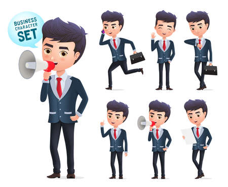 Male business vector character set. Business man office employee characters standing and holding megaphone while announcing with different pose isolated in white background. Vector Illustration. Foto de archivo - 129173355
