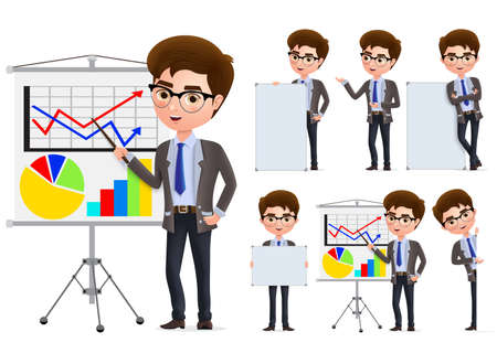 Businessman presentation vector character set. Business man characters in presentation standing and holding blank whiteboard in white background. Vector illustration.