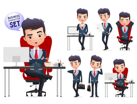 Business manager character vector set. Business boss or professional manager characters sitting and relaxing isolated in white background. Vector Illustration.